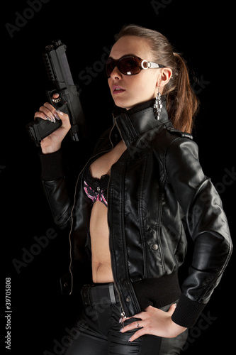 Sexy girl with gun.