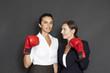 Geschäftsfrauen mit roten Boxhandschuhen zufrieden