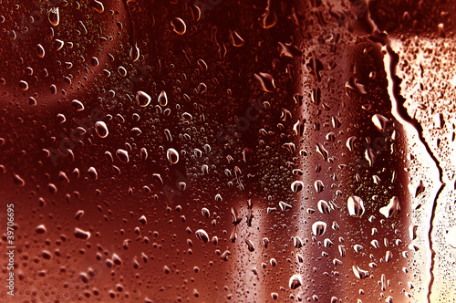 water drips on glass