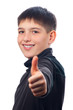 Happy teenage boy showing thumbs up isolated on white