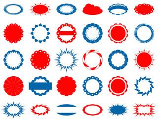 набор красных и синих этикеток