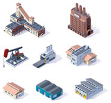 Vector isometric buildings. Industrial