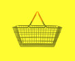 shopping basket on yellow