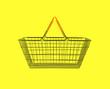 shopping basket on yellow