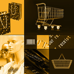 orange shopping collage