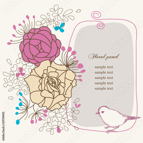 Tuinposter Abstract bloemen Floral panel and bird