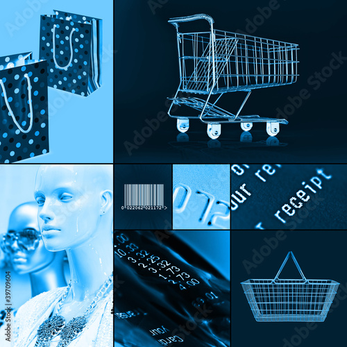blue shopping collage
