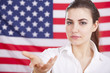 welcome gesture over american flag