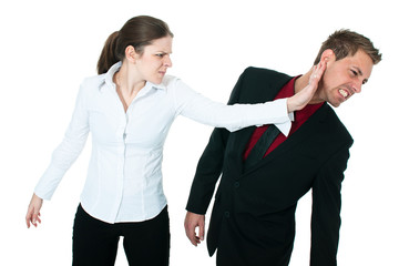 angry woman slapping a business man's face