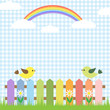Cute birds and rainbow