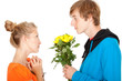man offering flowers to his girlfriend, white background