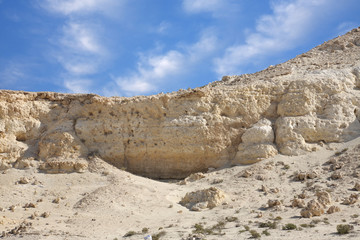 Closeup of beautiful limestone hillock in the desert of Bahrain