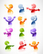 Set of colorful talking characters in various postures