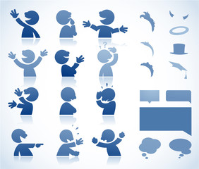 Set of talking characters in various postures