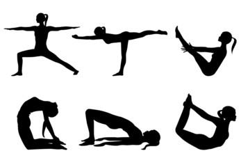Yoga series 3, six sihlouettes yoga poses on white