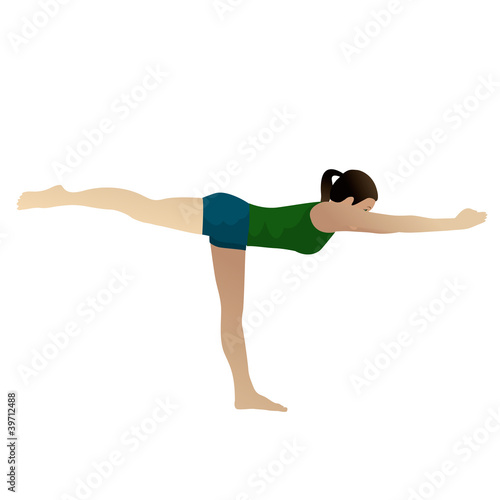 Young woman practicing yoga Warrior 3 Pose