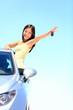 Car woman showing car keys