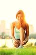 Woman running workout