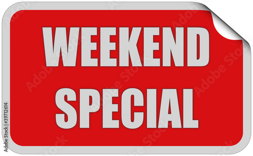 Sticker rot eckig curl oben WEEKEND SPECIAL