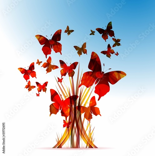 abstract colorful vector tree with butterflies