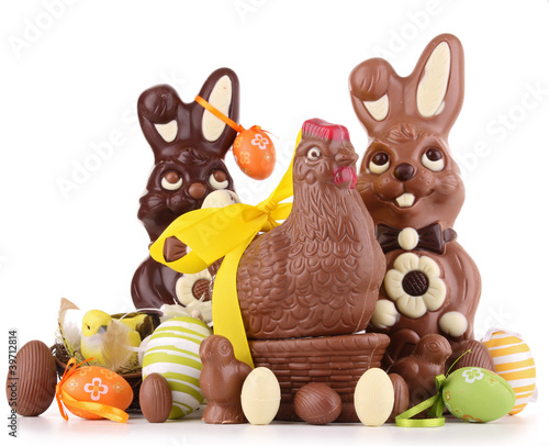 chocolate easter on white