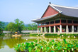 Emperor palace in Seoul. Lake and boat