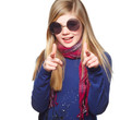 girl with huge glasses pointing at you