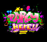 Fototapeta Party Here. Colorful vector invitation background