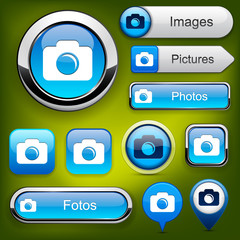 Photo high-detailed web button collection.