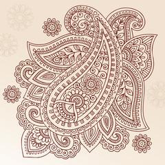 Ornate Henna Paisley Doodle Vector Design Elements