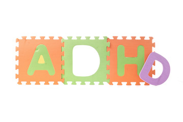 ADHD Spelled out with Foam Toy Puzzle Squares