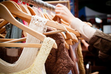 Rack of dresses at market