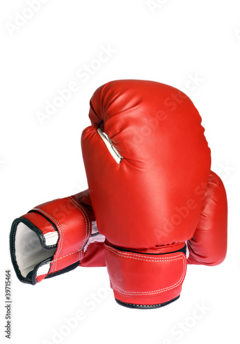 Photo of a boxing glove isolated on white