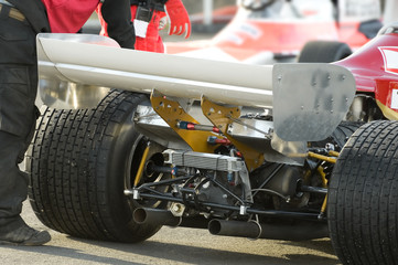 rear wheels and engine a race car