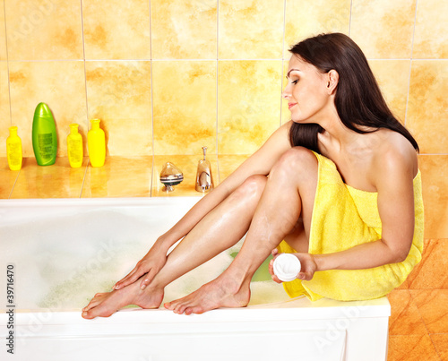 Woman take bubble  bath.