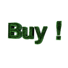 3d 'Buy' text created from the grass on white background