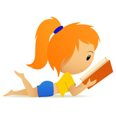Pretty relaxed teenage girl reading book