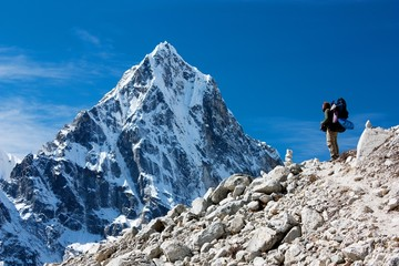 hiker on mountains - way to everest base camp
