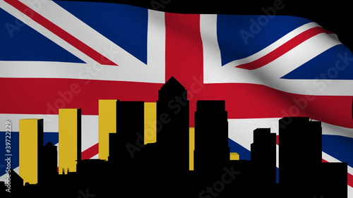 London Docklands skyline with graph and rippling flag animation