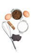 Sweet ingredients for cake, isolated