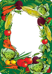 Collection of vegetables in the form of frame.