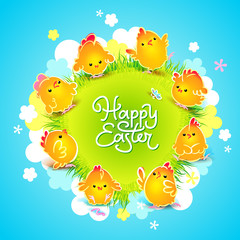 Easter card with the chickens around the meadow. Vector