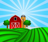 Red Barn with Grain Silo on Green Pasture Illustration