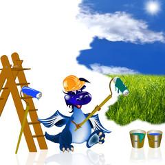 The dark blue dragon-house painter