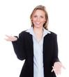 geschäftsfrau erklärt mit den händen