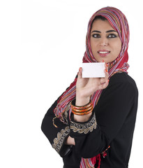 islamic excuctive with hijab in a business presentation scene