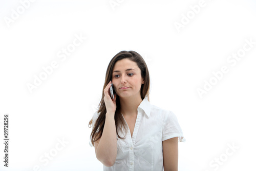 Serious Woman On Mobile Phone