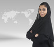 professional islamic girl with hijab against business background
