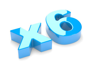 multiplication or increase concept x6