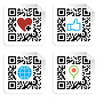 Set of QR codes with social media icons